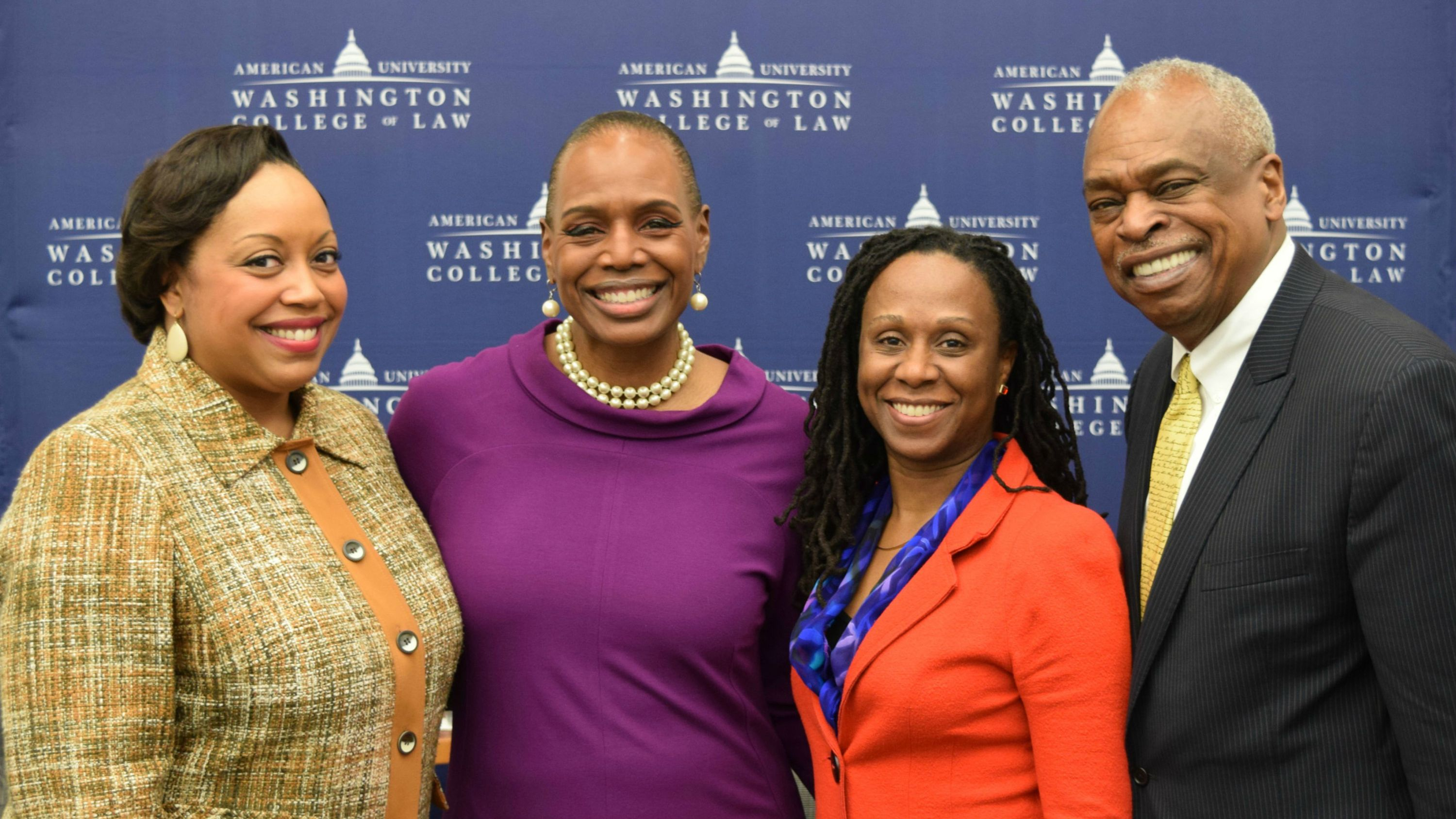 Left to Right: Kendra Brown, Nicole Austin-Hillery, Dean Camille Nelson, and Wade Henderson