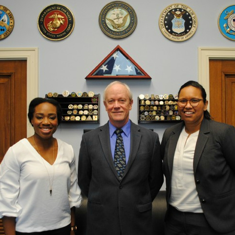 Sophia Nnadi (left) posing with Rep. Jerry McNerney (D - CA) and AUWCL peer, Mercedes Sullivan.