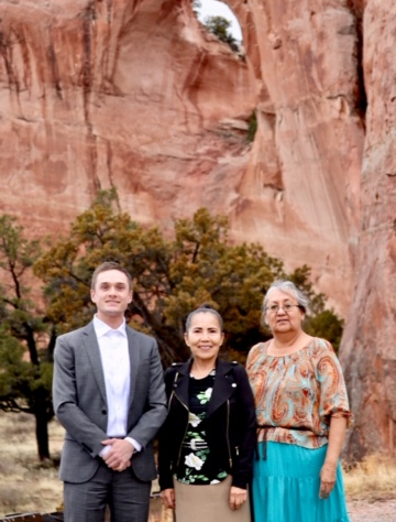 AUWCL student Nick Cross with Chief Justice Joann Jayne and Associate Justice Eleanor Shirley of the Navajo Nation Supreme Court