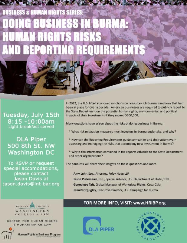 Doing Business in Burma: Human Rights Risks and Reporting Requirements
