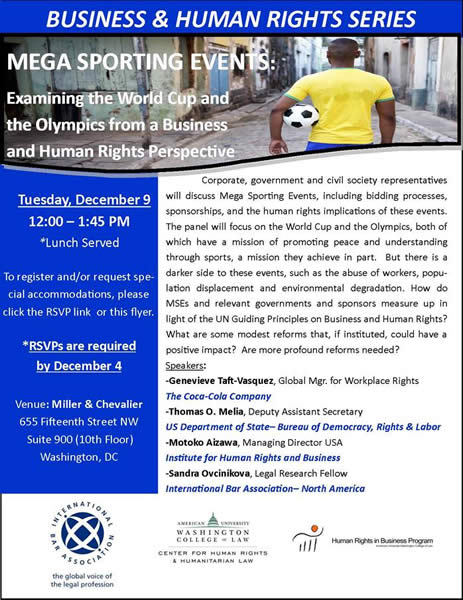 Mega Sporting Events: Examining the World Cup and the Olympics from a Business and Human Rights Perspective