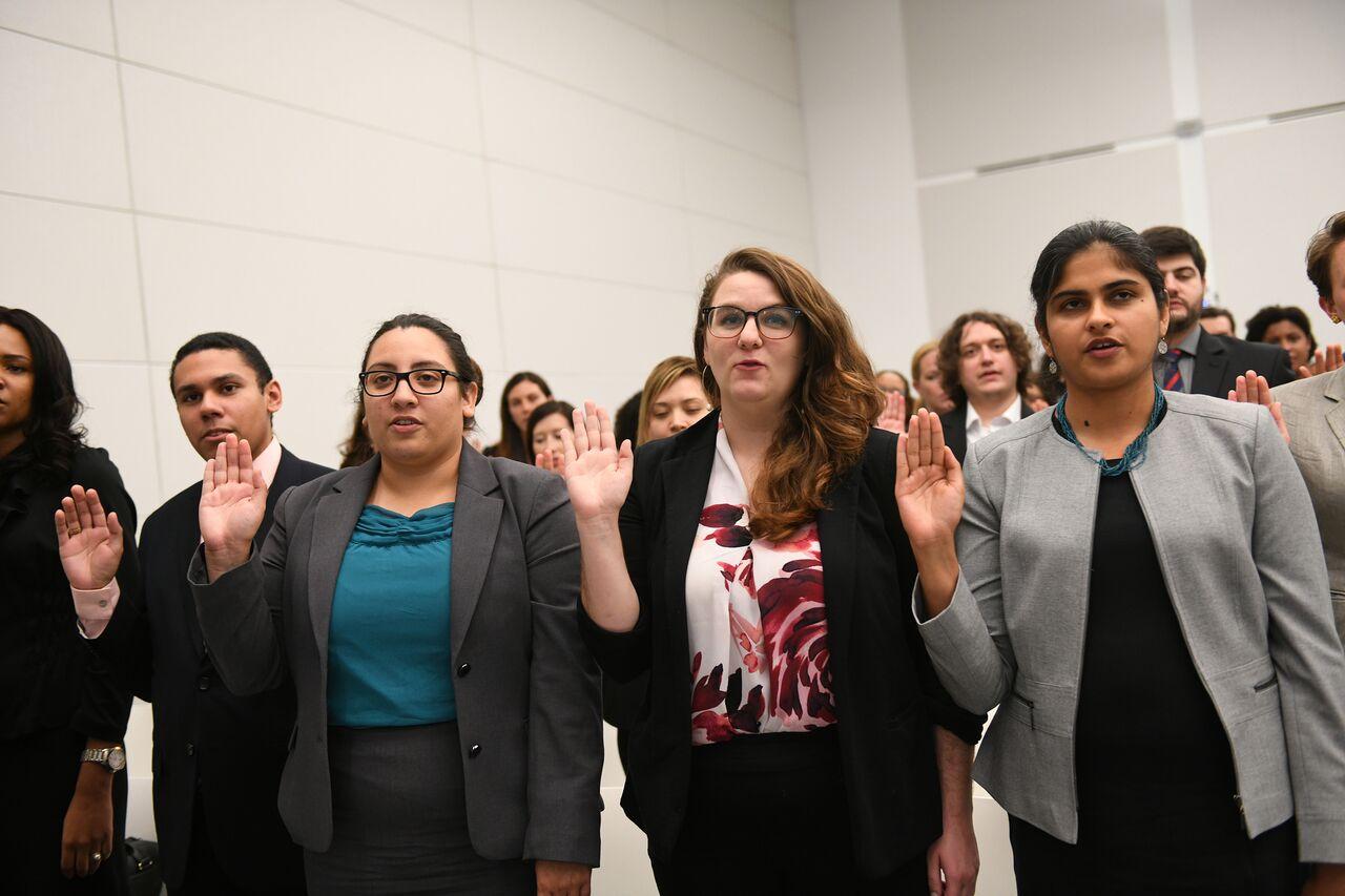 student attorneys being sworn in