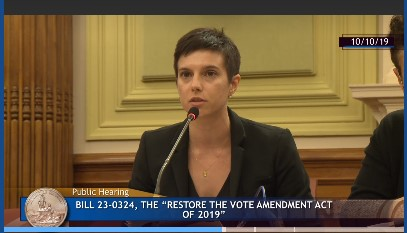 Xena Hinson ('22) testifies with Prof. Margaret Martin Barry before the D.C. Council