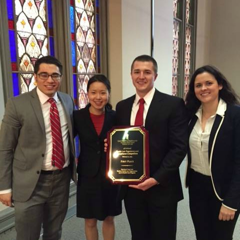 The AUWCL Health Law Regulatory and Compliance Competition Team celebrating their first place finish in 2015