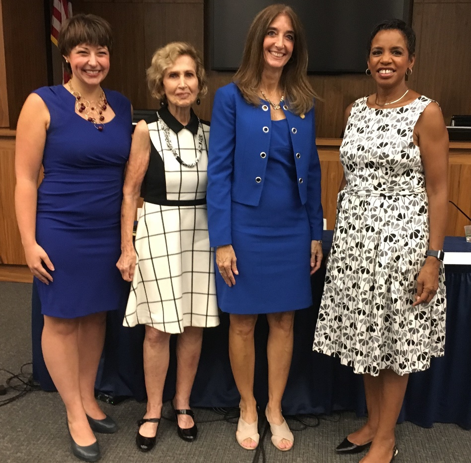 WCL Student, Caitlin Remmel, Donna Edwards (MD-4th); Connie Morella (MD-8th); and Eileen Filler-Corn '93 (D-Fairfax).