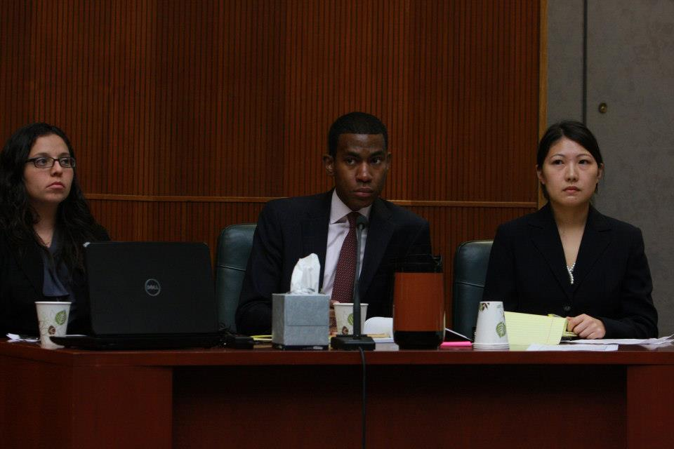 Students at mock trial session