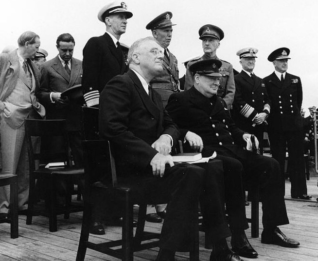 President Franklin D. Roosevelt (left) and Prime Minister Winston Churchill during the Atlantic Charter Conference.