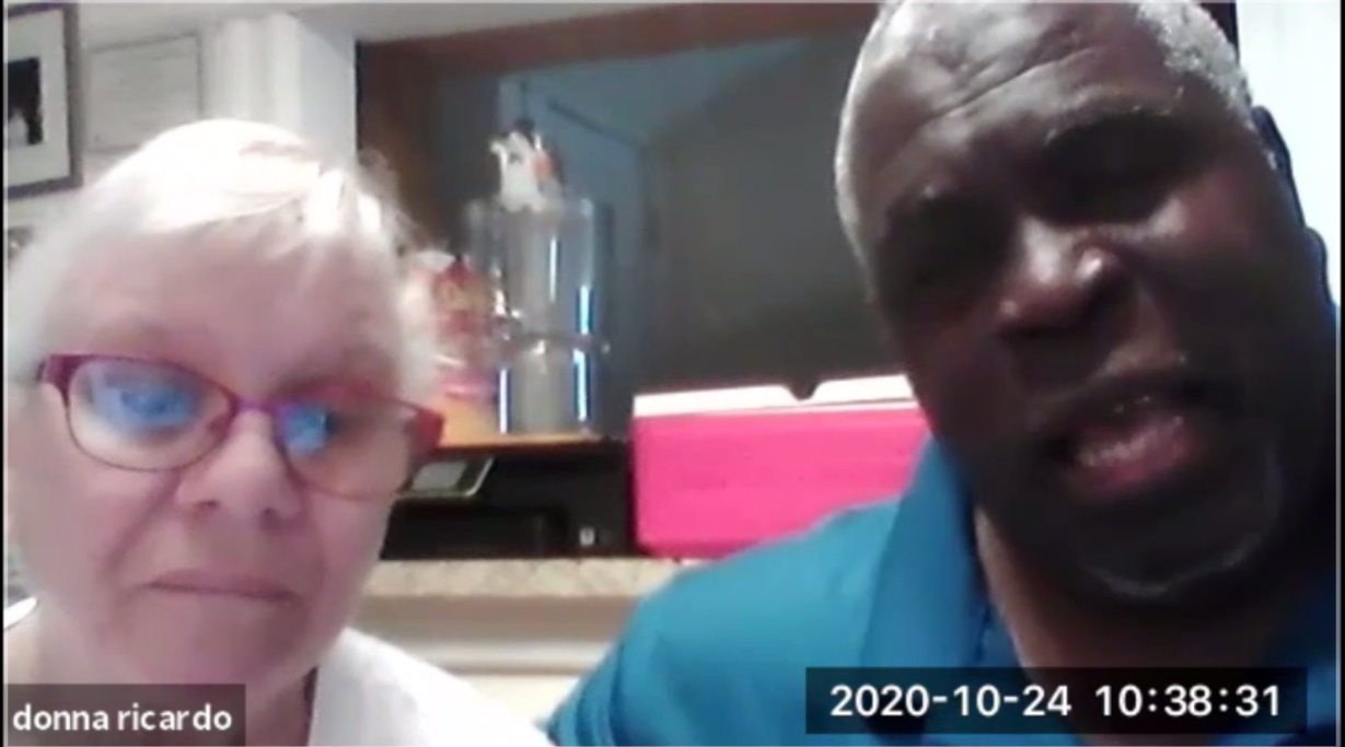 Ricardo Thornton, right, with his wife.