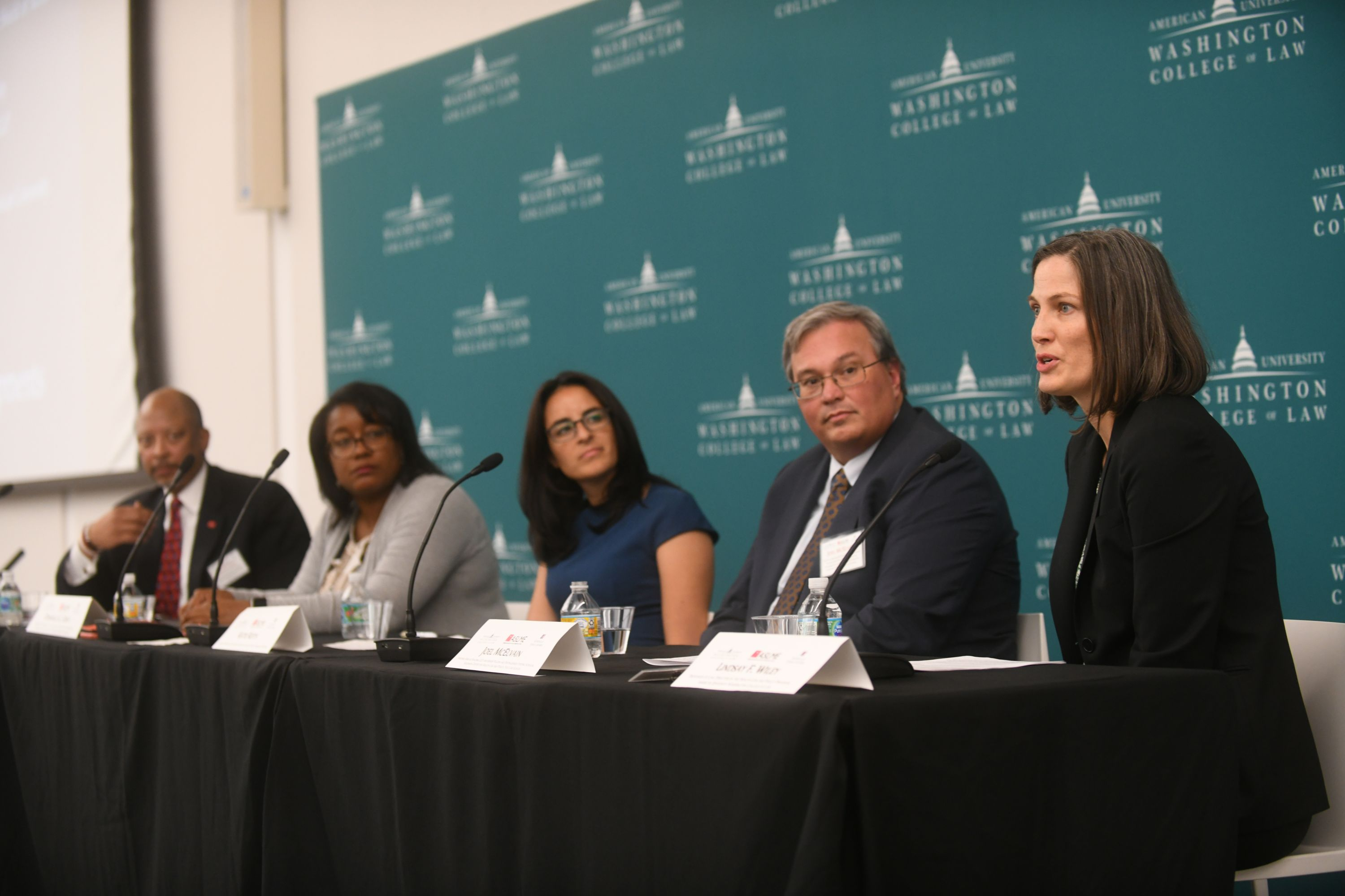 AUWCL Professor Lindsay Wiley, director of the Health Law and Policy Program, moderates a plenary session.