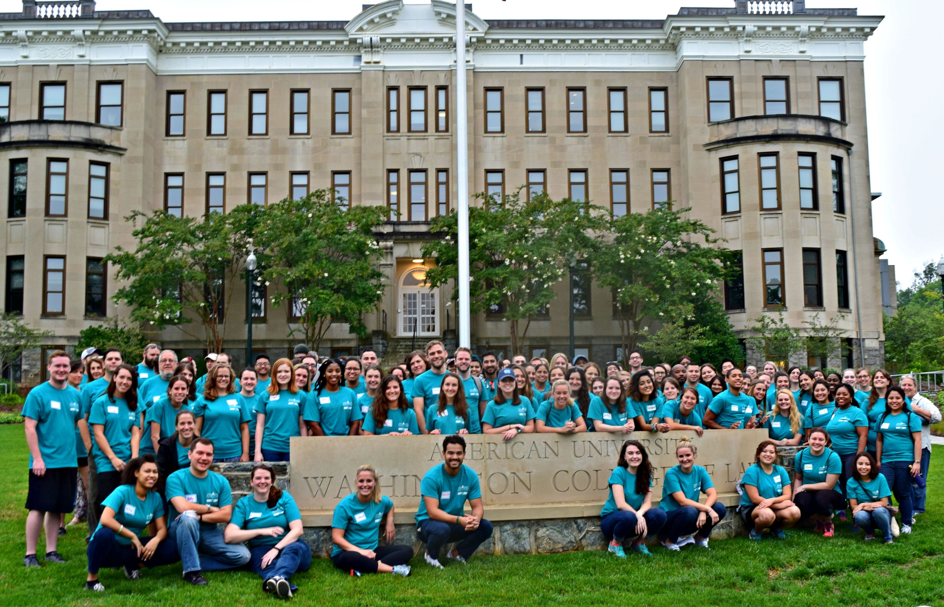 """The 2020 class as incoming 1Ls at the """"In My Back Yard"""" (IMBY) public day of service in 2017."""