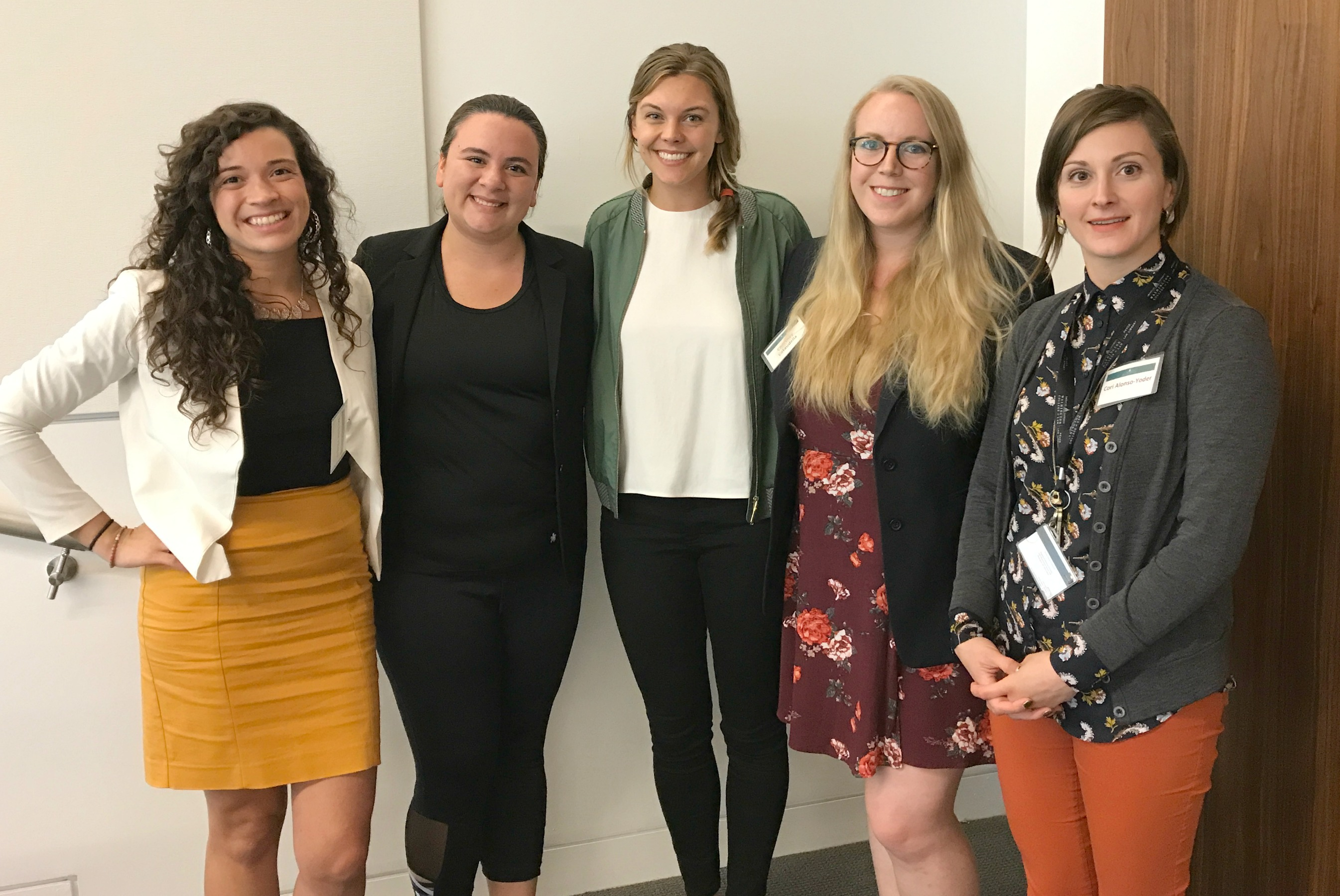 Immigrant Justice Clinic students Michelle Villegas, Brianna Lozito, Katie Conway, and Courtney Cataudella with Professor Cori Alonso-Yoder.
