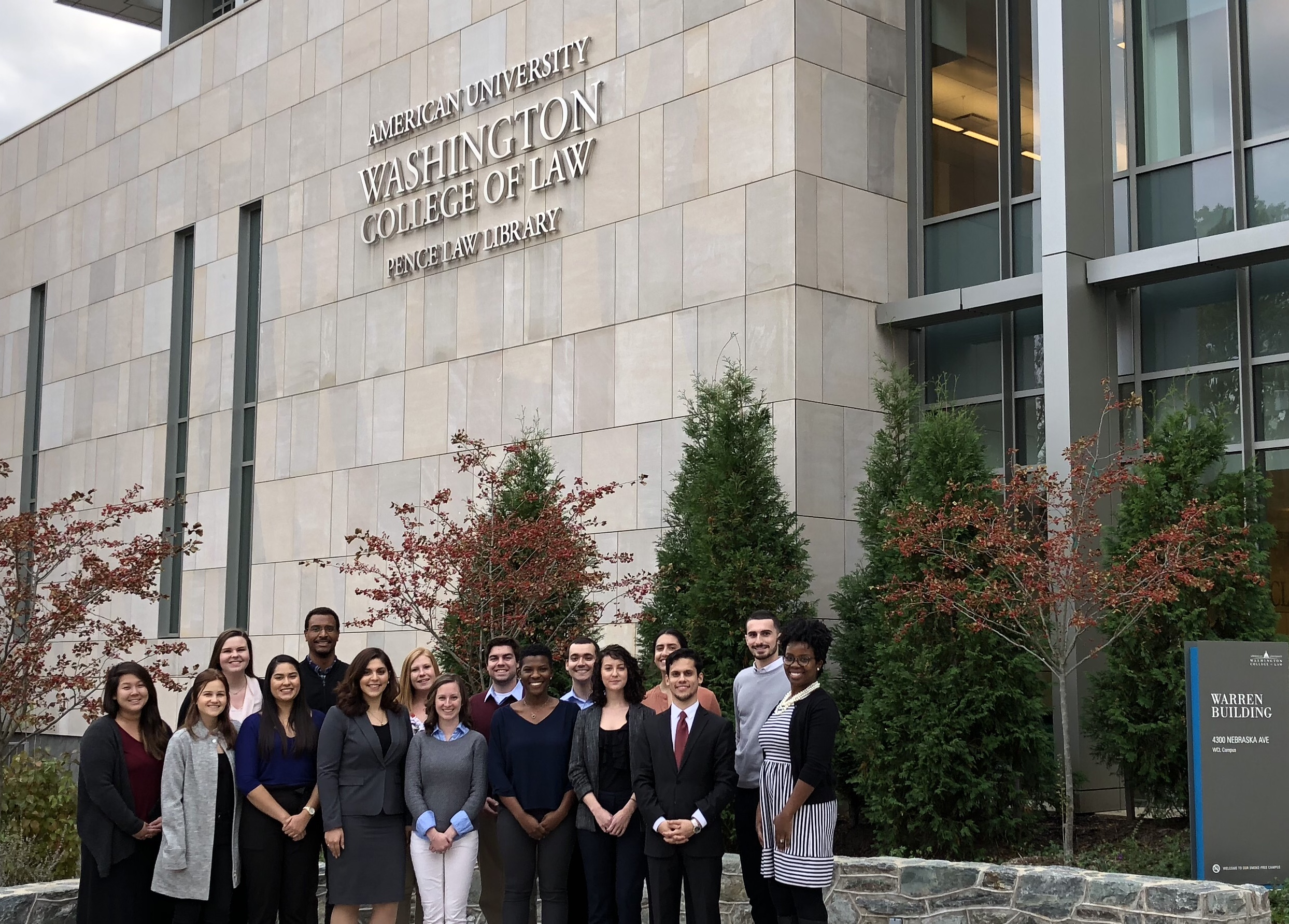 Students in front of Pence Law Library