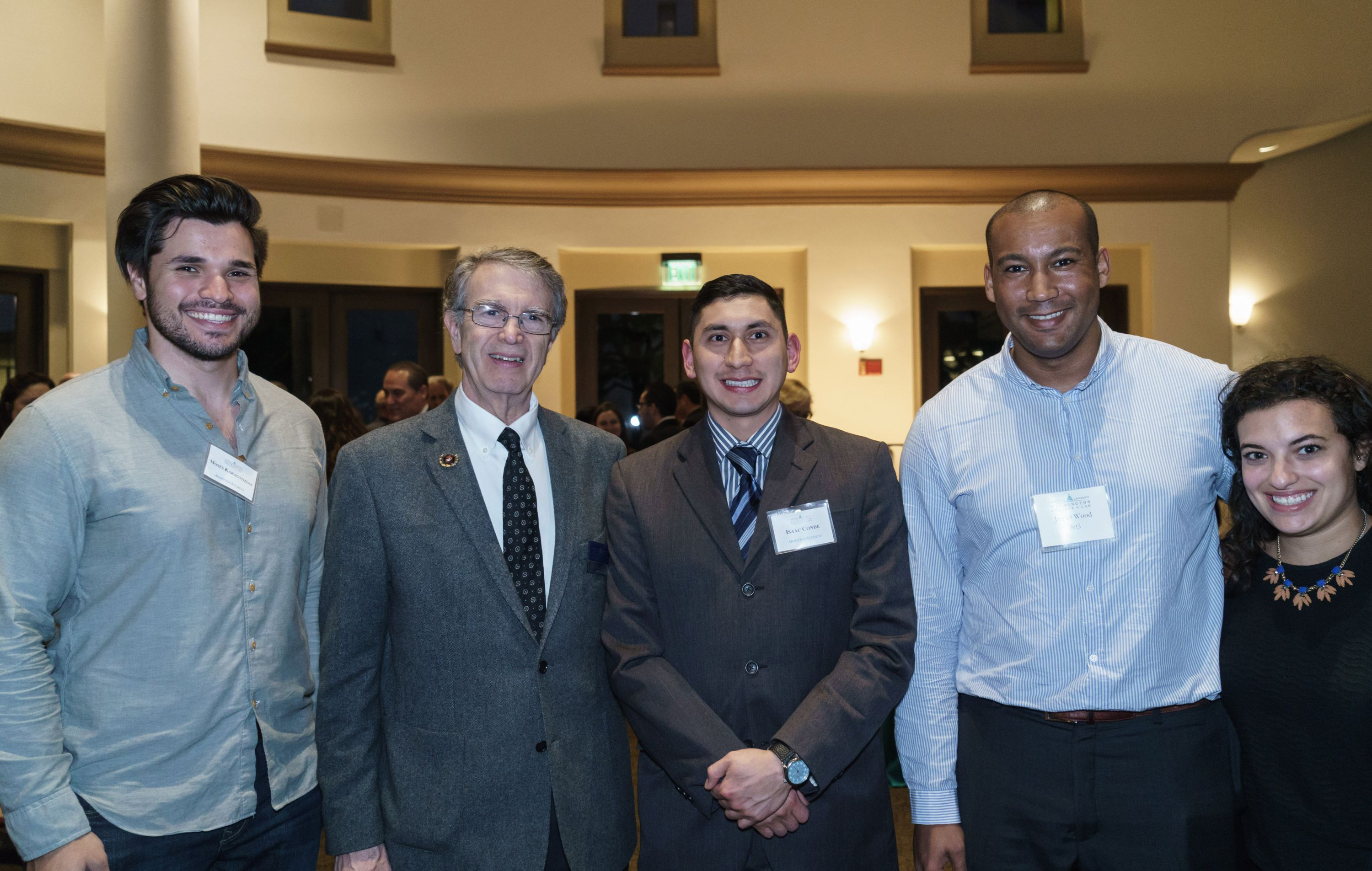 Professor Andrew F. Popper with admitted student Moses Karagyozian, admitted student Issac Conde, Jarrad Wood '15, and guest