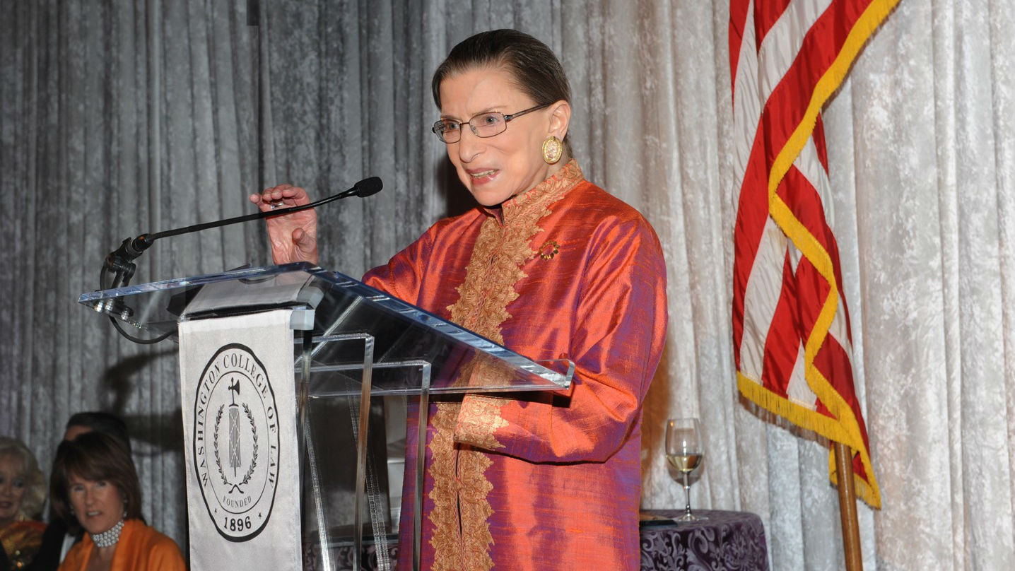 Justice Ruth Bader Ginsburg gives the keynote address at American University Washington College of Law's 28th Annual John Sherman Myers Society Dinner, held in September 2012 at the U.S. Supreme Court.