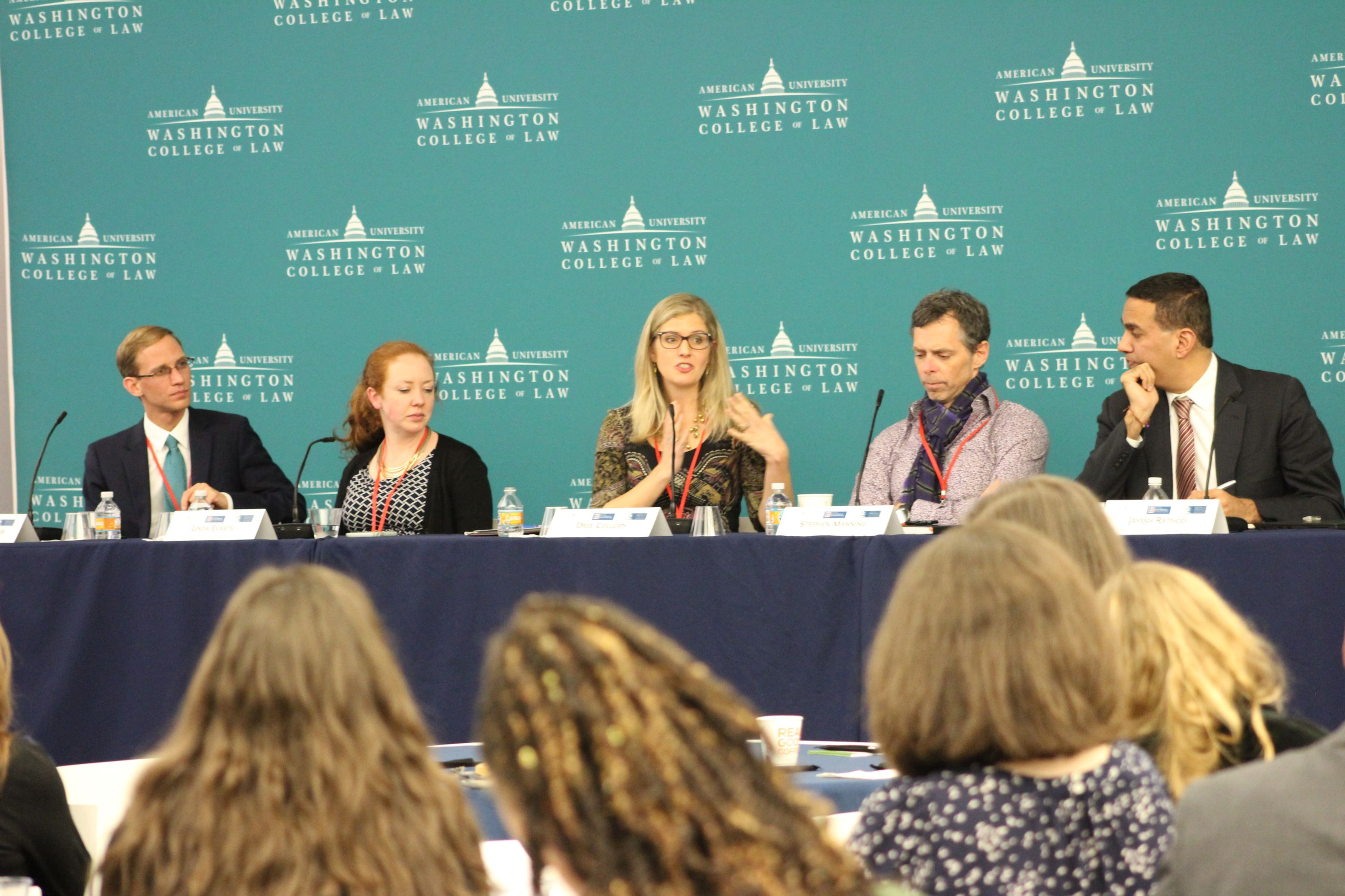 Left to right: Dennis Stinchcomb, AU Center for Latin American & Latino Studies; Linda Evarts, International Refugee Project; Dree Collopy, Benach Collopy LLP; Stephen Manning, Innovation Law Lab; Jayesh Rathod, AUWCL Immigrant Justice Clinic.