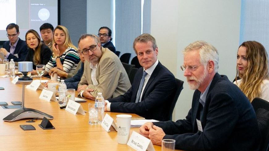 Martin Senftleben discussing the EU Directive on Copyright in the Digital Single Market at a PIJIP-sponsored meeting at the Microsoft offices in D.C., with joined by AUWCL Professors Sean Flynn and Michael Carroll.