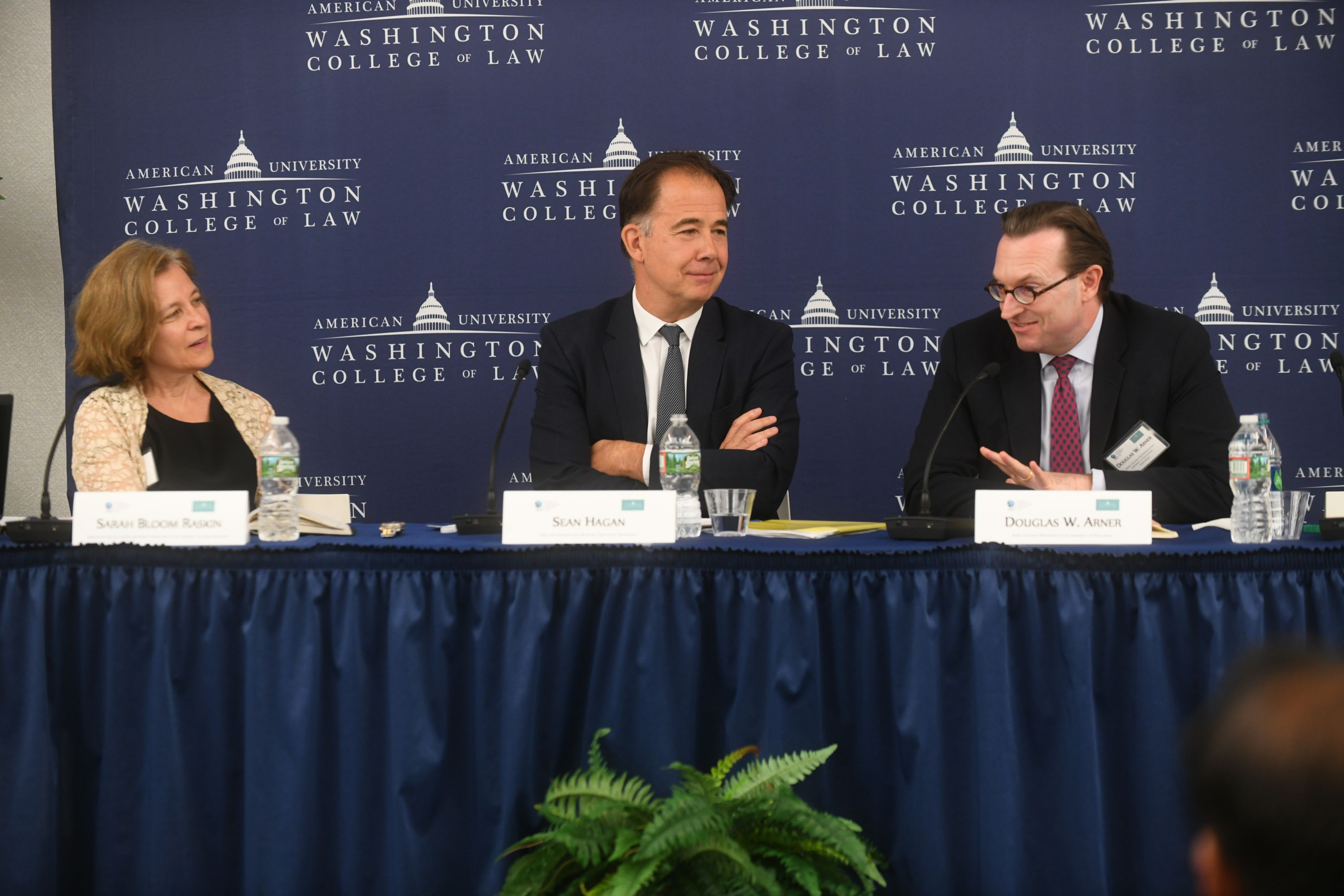 "Panel on ""Financial Policy and Practice in Unsettling Time"". Left to right: Sarah B. Raskin, former United States Deputy Secretary of the Treasury, Sean Hagan, Director of the International Monetary Fund Legal Department, and Douglas W. Arner, Kerry Holdings Professor in Law, University of Hong Kong."