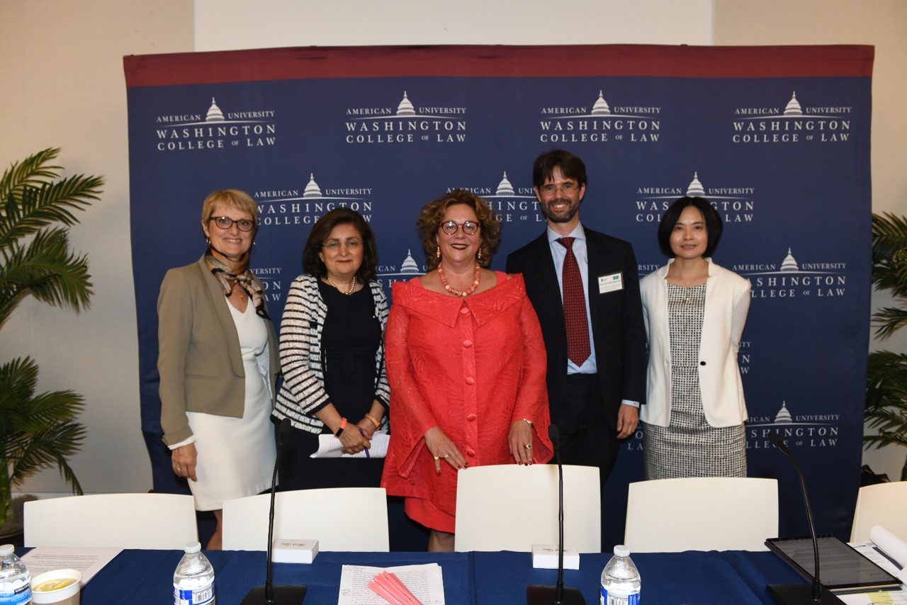 Left to right: Hélène Ruiz Fabri, Director Max Planck Institute Luxembourg (Previous Dean University of Sorbonne I); Padideh Ala'i, Director of International and Comparative Legal Studies at AUWCL; Gabrielle Marceau, former SIEL President; Holger Hestermeyer, former SIEL Executive Vice President; and Shin-yi Peng, SIEL Executive Vice President.