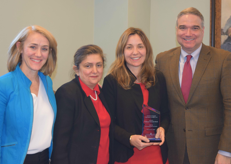 Left to right: Professors Christine Farley, Padideh Alah'i, Fernanda Nicola, and Antony Varona.