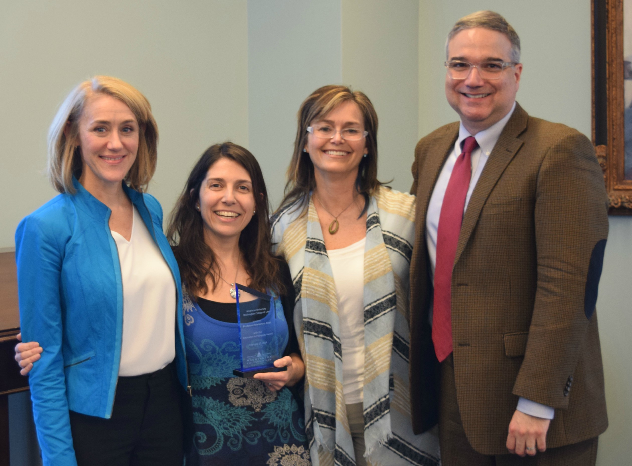 Left to right: Professors Christine Farley, Macarena Saez, Jennifer de Laurentiis, and Antony Varona.