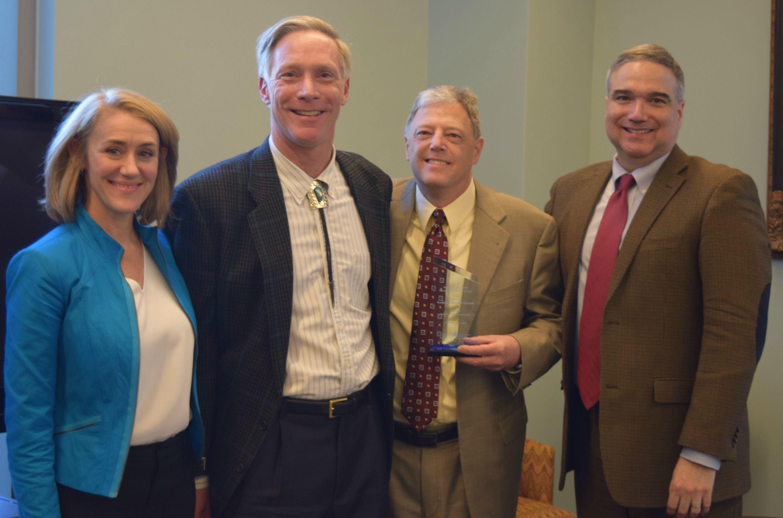Left to right: Professors Christine Farley, William Snape, Stephen Shapiro, and Antony Varona