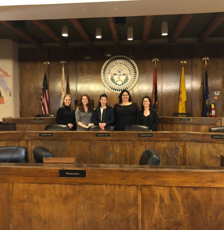 Alternative Spring Break participants inside the Navajo Nation Council Chambers.