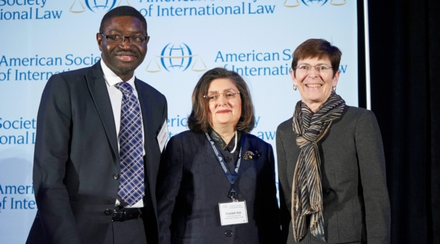 Distinguished Discussant Dapo Akande, Professor Padideh Ala'i, and Grotius Lecturer Judge Joan Donoghue of the International Court of Justice.
