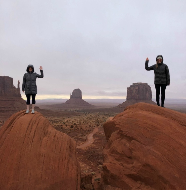 AUWCL 3Ls Bridget and Karina pose at Monument Valley.