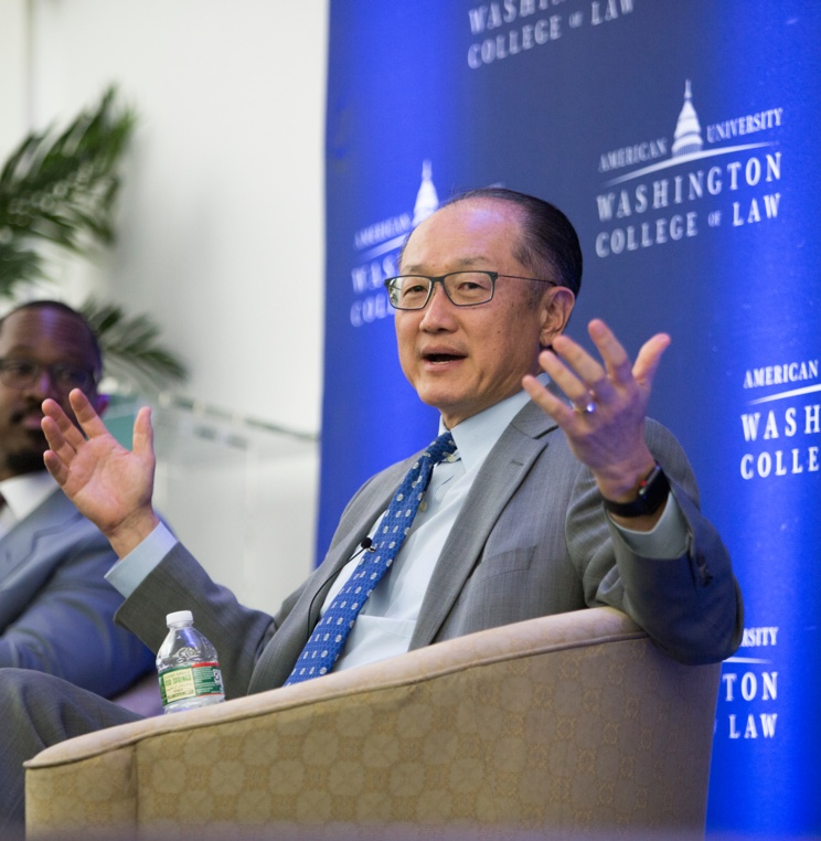 World Bank Group President Jim Yong Kim speaks at American University Washington College of Law April 10, 2018.