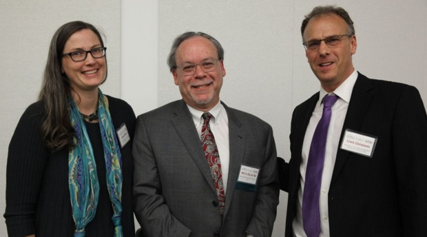 Director of AUWCL Health Law and Policy Program Lindsay Wiley with Mitch Zeller '82, director for the Center for Tobacco Products at the FDA and AUWCL Professor and conference chair Lewis Grossman.