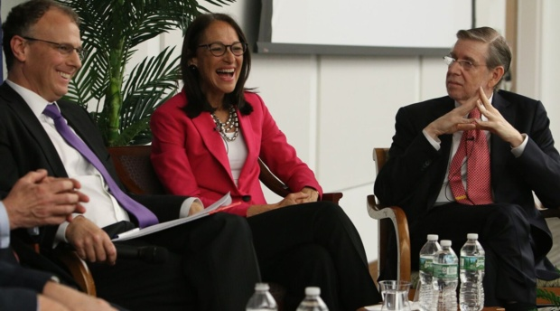 Margaret Hamburg, Hamburg, president of the American Association for the Advancement of Science and Foreign Secretary of the National Academy of Medicine, with AUWCL Professor and Conference Chair Lewis Grossman and