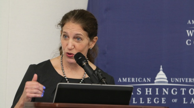 American University President Sylvia M. Burwell offers welcoming remarks.