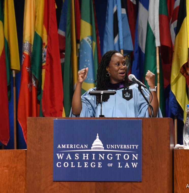 AUWCL Dean Camille Nelson delivers commencement address.