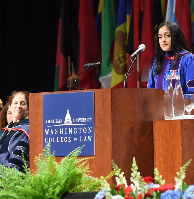 Vanita Gupta, president and CEO of The Leadership Conference, delivers commencement address.