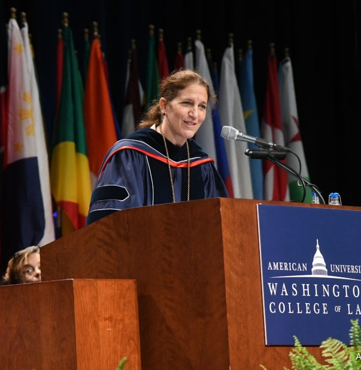 American University President Synthia Burwell opens Spring 2018 Commencement ceremony.