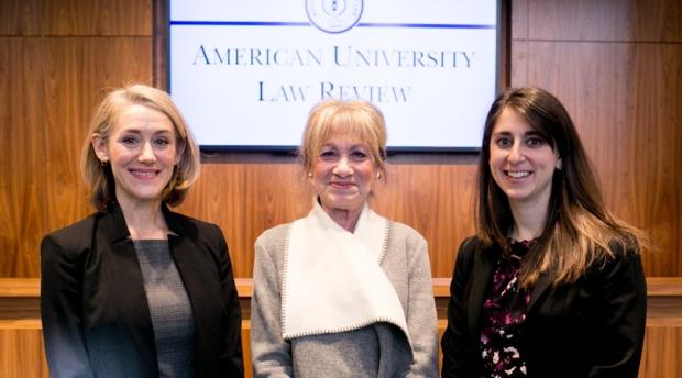 Professor Christine Haight Farley, Chief Judge Sharon Prost, and Rachel Weiner Cohen.