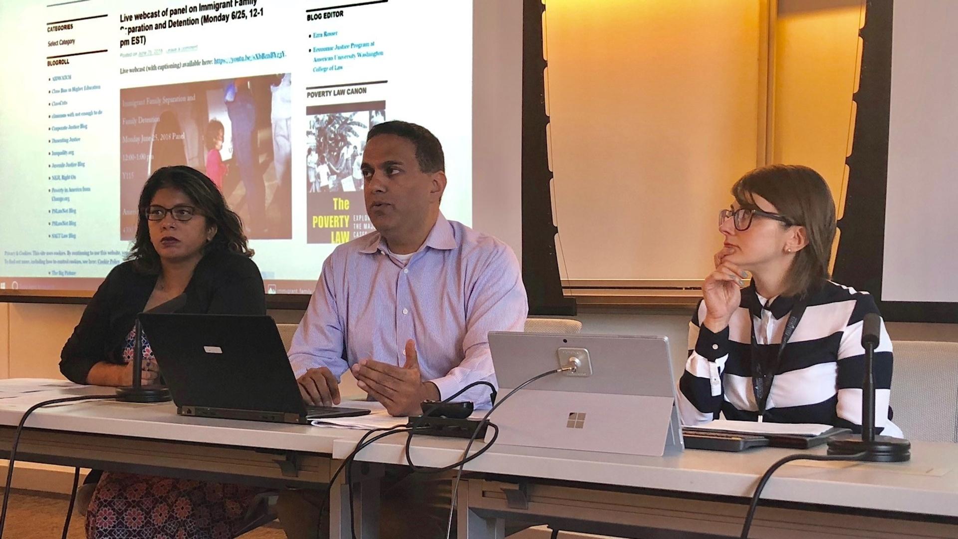 AUWCL Professors Anita Sinha, Jayesh Rathod, and Cori Alonso-Yoder.