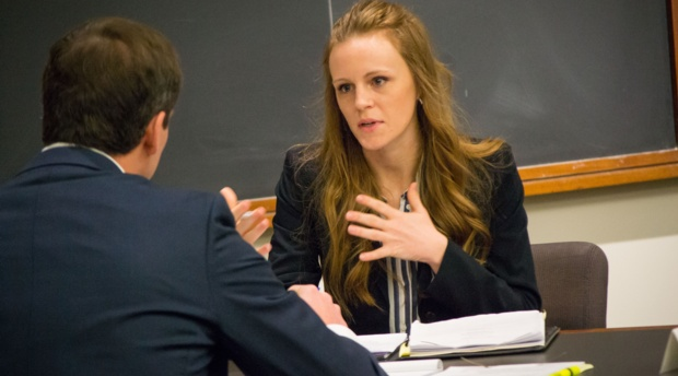 "Ericha Penzien representing AUWCL at ""The Closer"" National Transactional Law Competition."