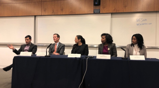 Alumni panelists Nor Powanda '15, Steve Gardner '91, Christina Ravelo '18, Loren Ponds '02, and Neff Smith '10.