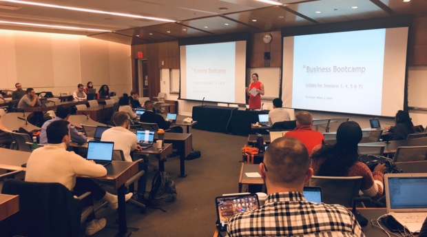 Professor Hilary Allen welcomes attendees to Business Basics Bootcamp at AUWCL.