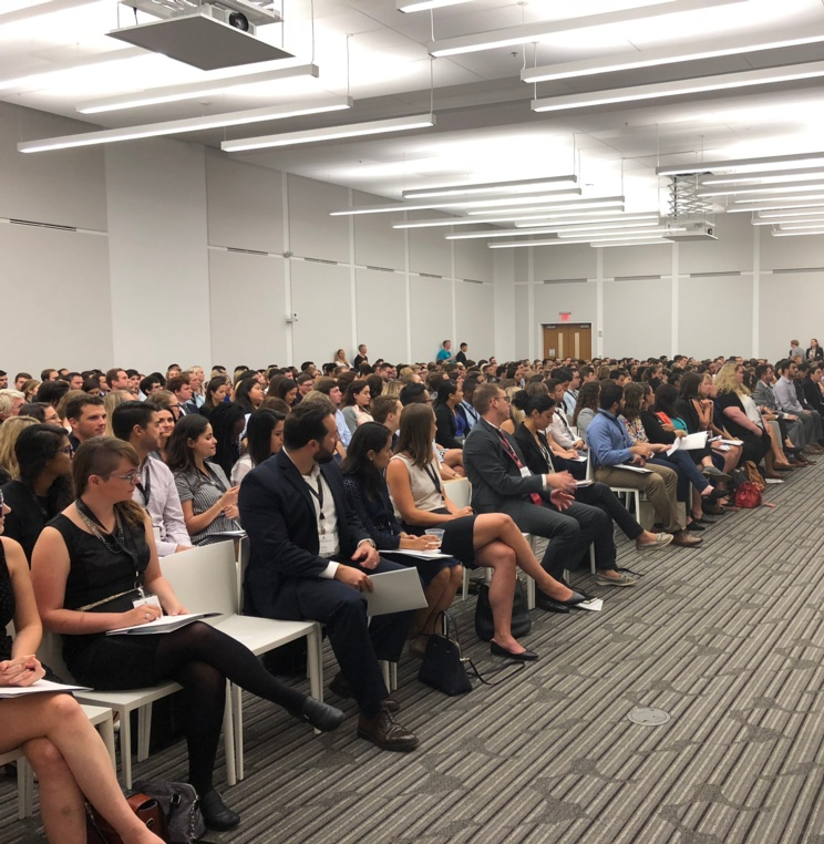Incoming AUWCL students during Dean Camille Nelson's welcome remarks Tuesday, Aug. 21.