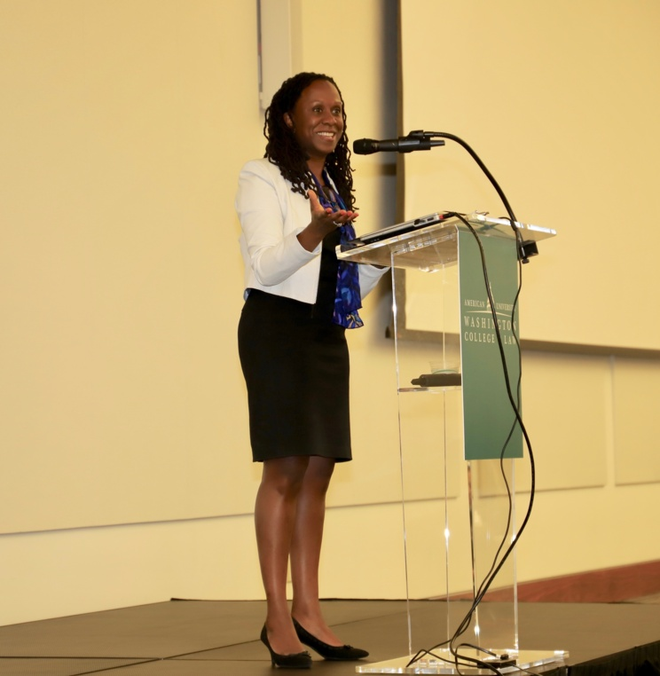 Dean Camille Nelson delivers her welcome remarks to new AUWCL students during orientation.