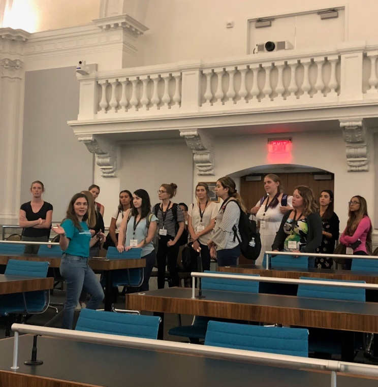 Some 1L students on tour of the AUWCL campus, beginning with the Stephen S. Weinstein Courtroom.
