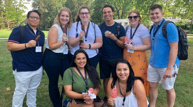 Incoming 1Ls enjoy some ice cream out on the AUWCL quad during orientation.
