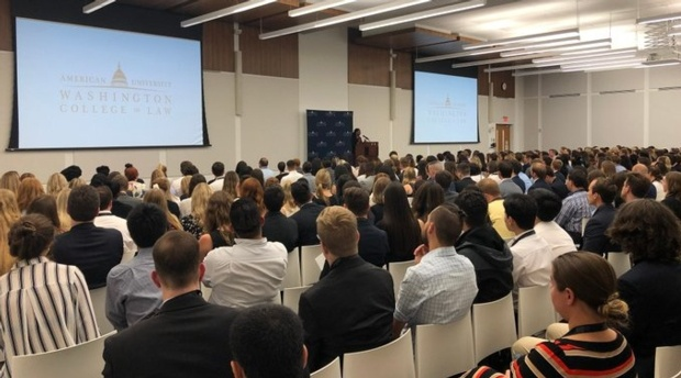Dean Camille Nelson welcomes new students to the 2019-20 school year.