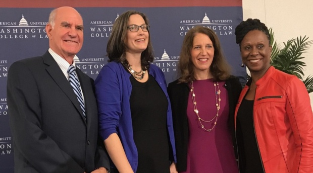 American University Provost Scott Bass, Professor Lindsay Wiley, American University President Sylvia Burwell, and Dean Camille Nelson.
