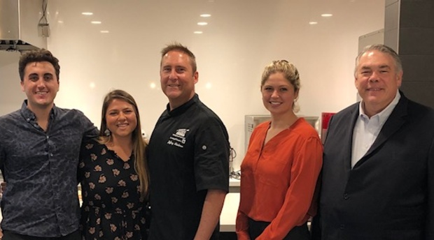 Pictured from left to right are Walker Livingston, Sara Talebian, Chef Jeff Steelman, Meredith Bayer and Professor Stentz.