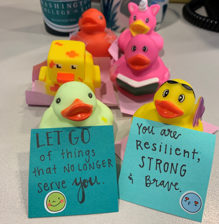 Rubber ducks with positive messages on them.