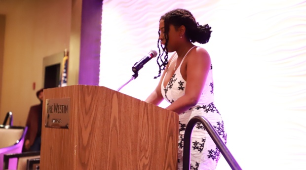 BLSA President Haley Magwood delivers remarks during the gala.