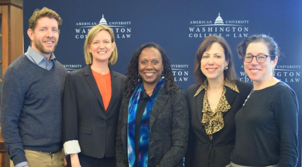 Left to right: Professor Jonas Anderson, Professor Rebecca Hamilton, Dean Camille Nelson, Professor Diane Orentlicher, and Professor Jennifer Daskal.